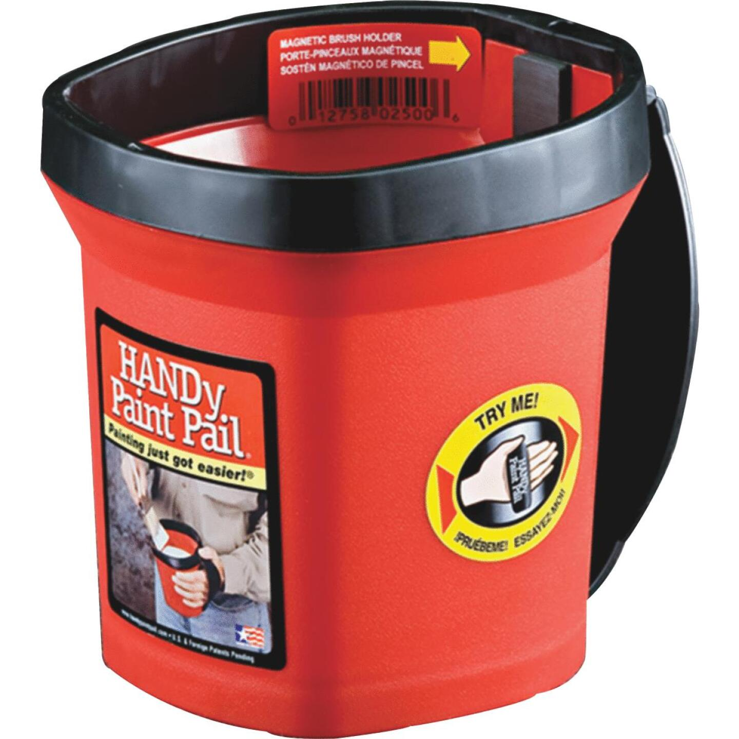 HANDy Paint Pail 1 Qt. Red Painter's Bucket w/Adjustable Strap And Magnetic Brush Holder Image 3